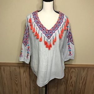 Chico's top size 1 embroidered tassels beads